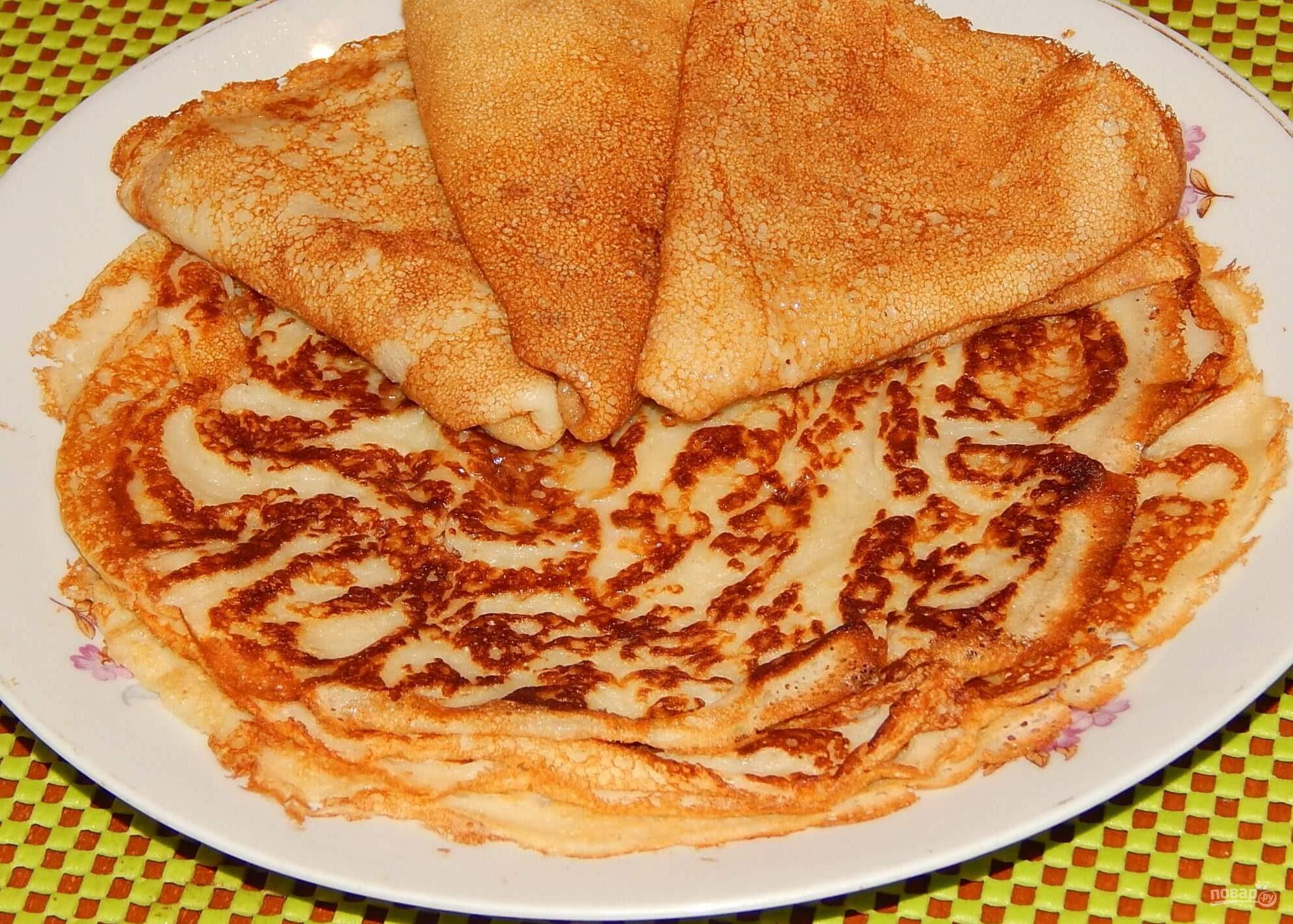Блины на кефире тонкие с дырочками рецепт пошагово вкусные