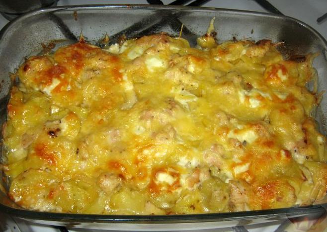 Восхитительная запеканка с картофелем и куриным филе