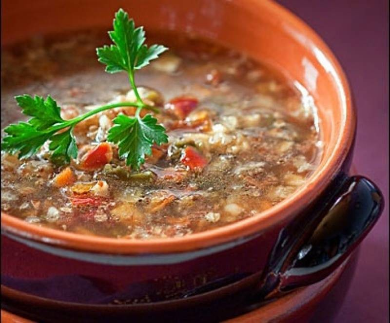 Суп с гречкой на курином бульоне фото