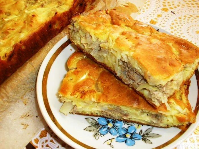 Ленивый пирог с фаршем на кефире рецепт