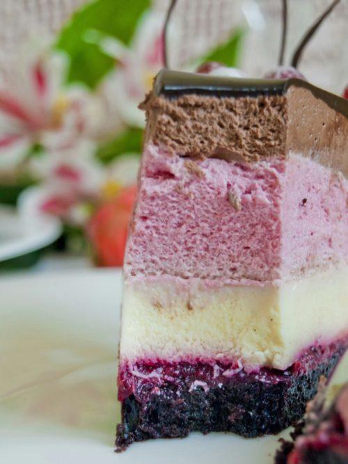 Потрясающий шоколадно-ягодный муссовый торт с вишнево-клюквенным compote
