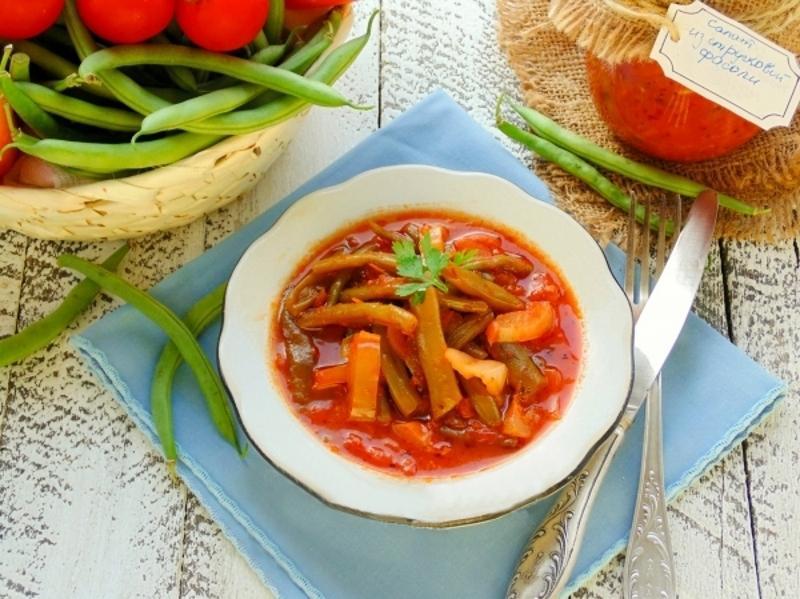 Рецепт салат из стручковой фасоли на зиму