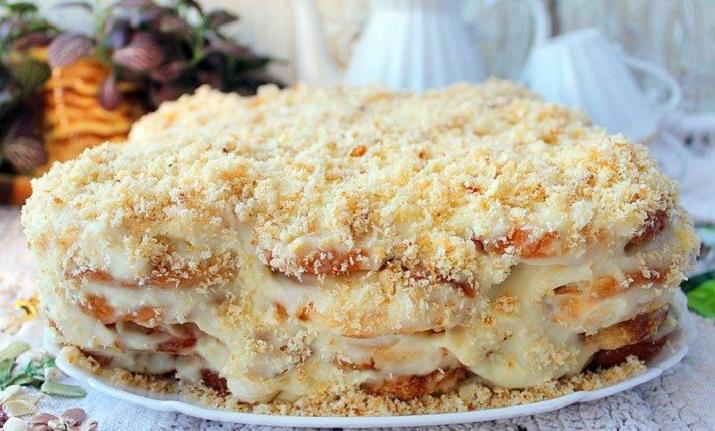 Самый ленивый торт без выпечки из печенья «Ушки»