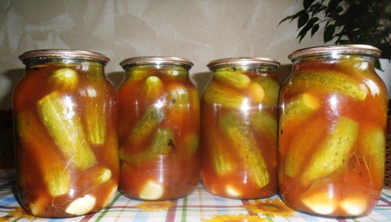Изумительные огурцы в томатном соке на зиму