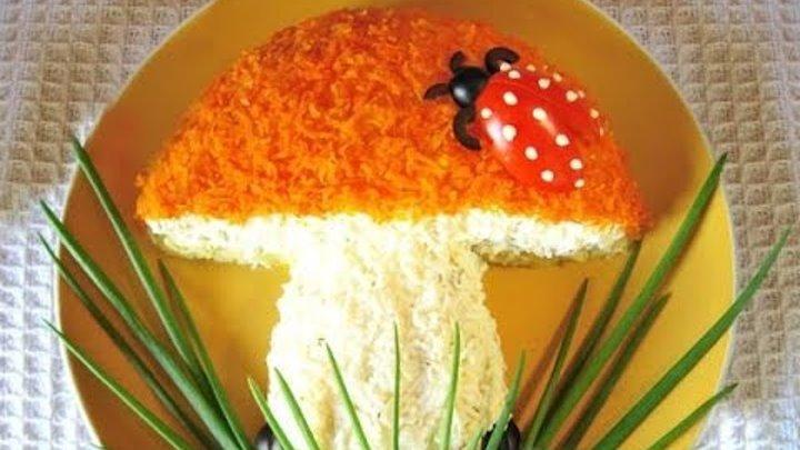 Как украсить салат с грибами