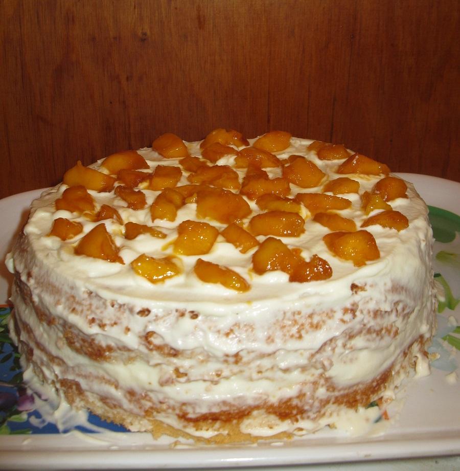 Вкуснейший быстрый торт со свежими персиками