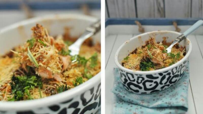 Очень вкусная запеканка с лососем и рисом