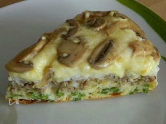 Обалденный заливной пирог с грибами