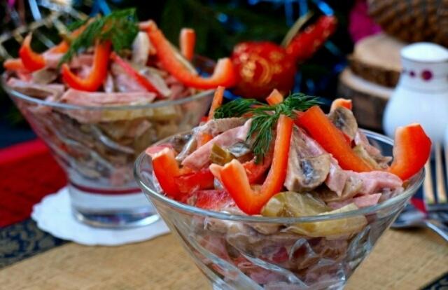 Замечательная подборка рецептов салатов с языком