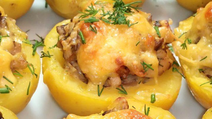 Картофельные лодочки, фаршированные курицей и грибами