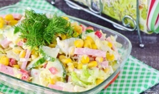 Очень простой и быстрый салат с пекинской капустой и ветчиной
