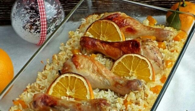 Божественная цитрусовая курица на рисовой подушке