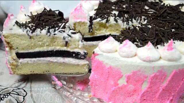 Потрясающий бисквитный торт с творожным кремом