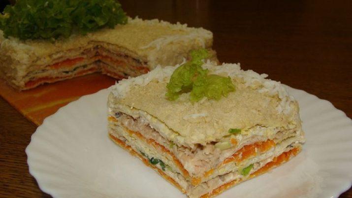 Простой, нежный и праздничный закусочный торт «Под елкой»