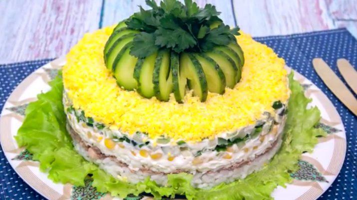 Праздничный слоеный салат с печенью трески «Диана»