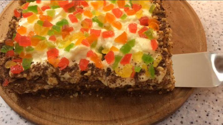 Торт «Новогодний калейдоскоп»: без муки и масла