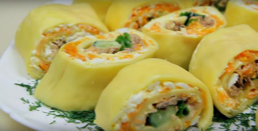 Изумительный закусочный салат-ролл с тунцом