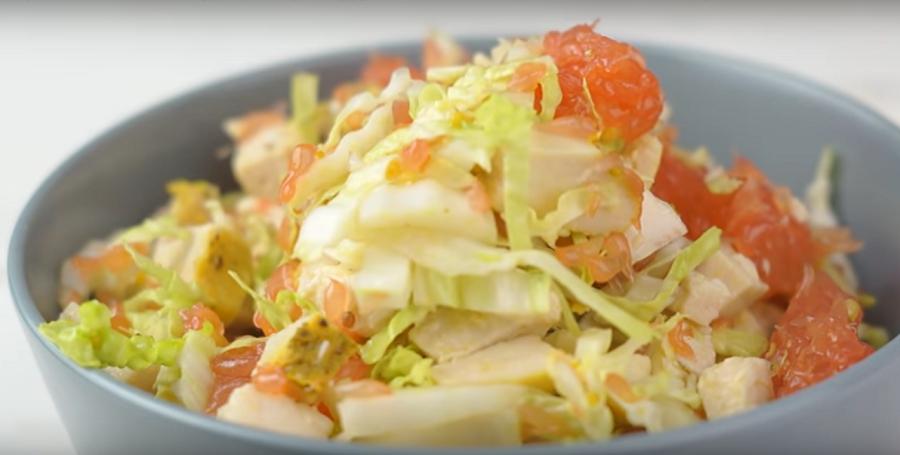 Вкуснейший салат с грейпфрутом и курицей