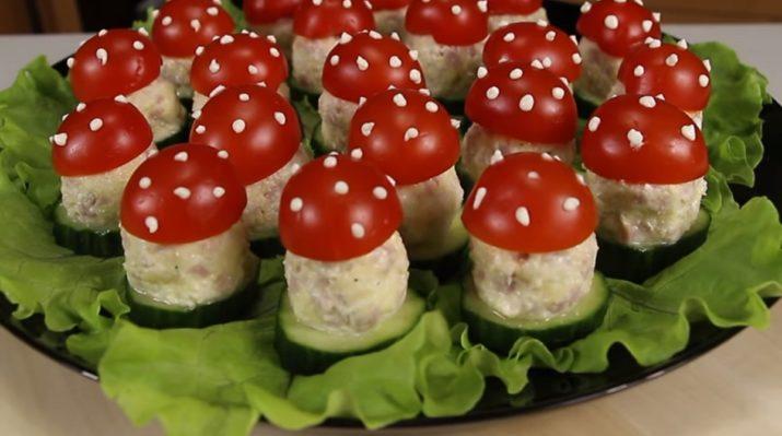 Оригинальная закуска украсит любой праздник: «Мухоморчики» на полянке