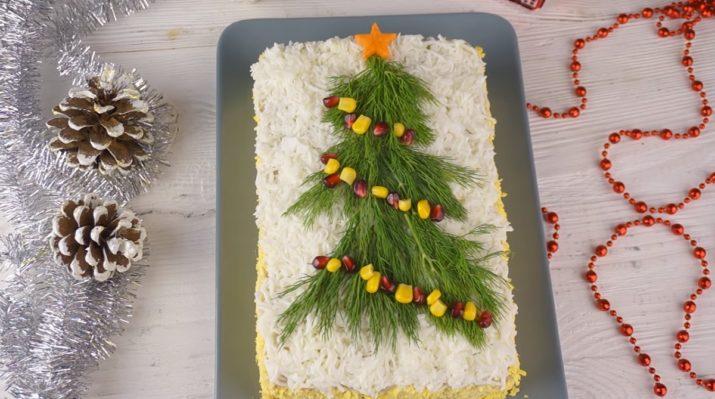 Закусочный мясной торт «Новогодняя елочка»