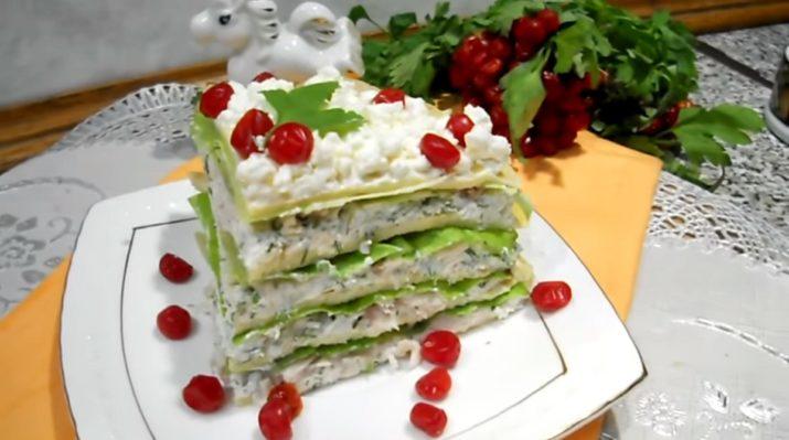 Прелестный торт-салат на новогодний стол 2018