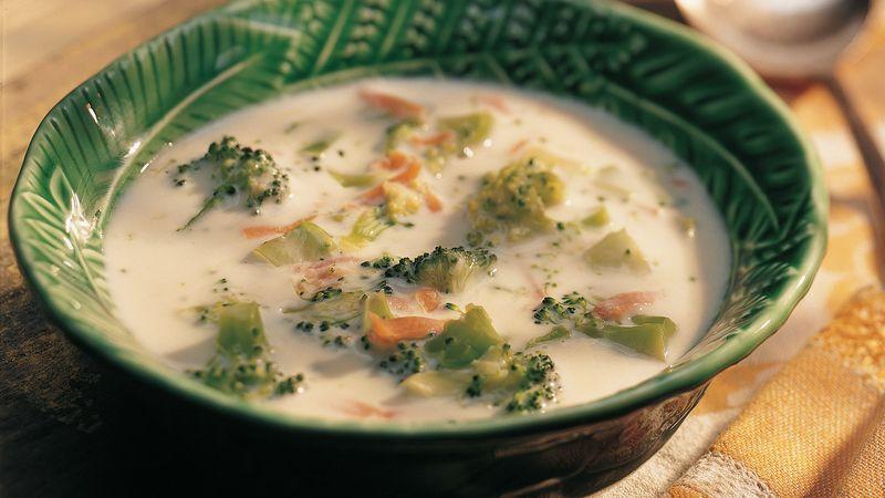Восхитительный сырный суп с шампиньонами и брокколи