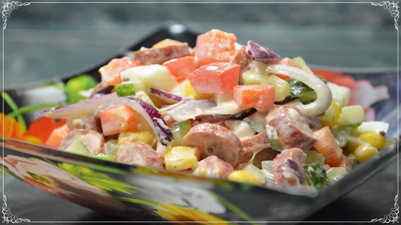 Яркий и вкусный салат «Радуга»: простой в приготовлении