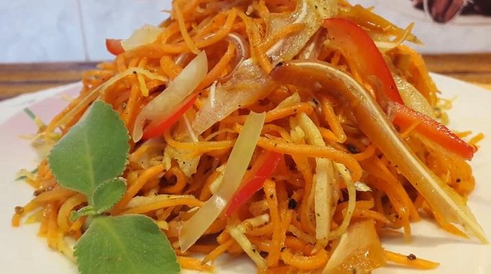 Салат с морковью по-корейски: с сельдереем и копчеными ушками