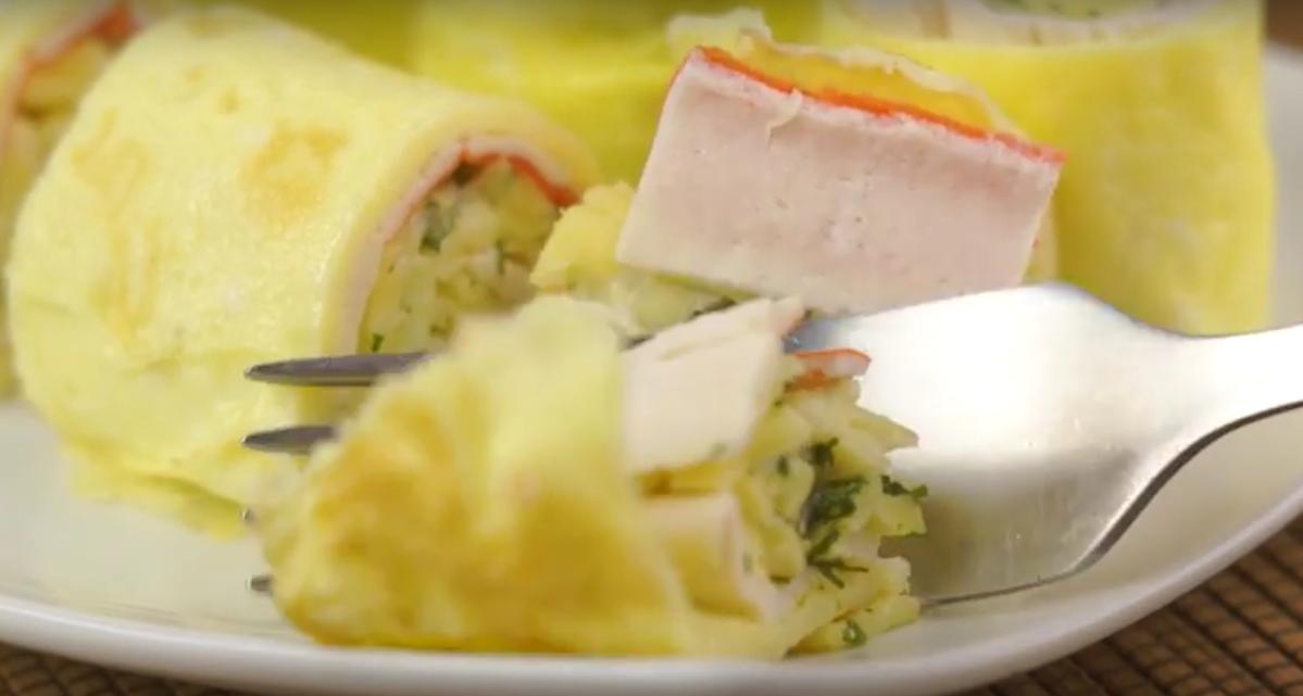 Потрясающая закуска с крабовыми палочками. Яичные роллы с начинкой