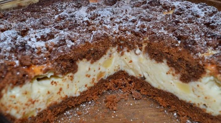 Шоколадно-творожный пирог с фруктами: нежнее нежного