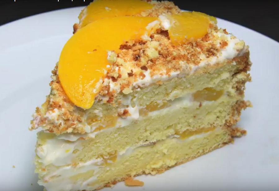 Восхитительный торт с персиками (готовим на скорую руку)