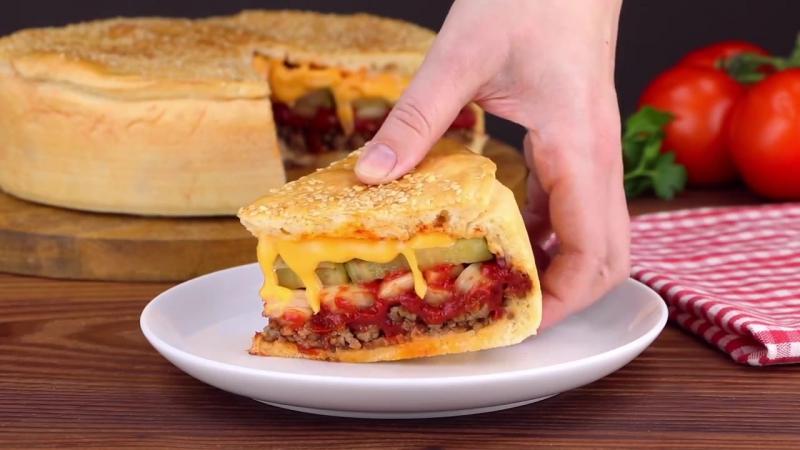 """Необычный мясной пирог """"Чизбургер"""""""
