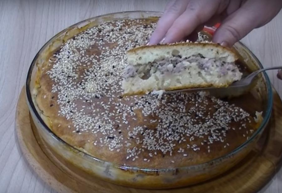 Самый простой и быстрый пирог с мясом