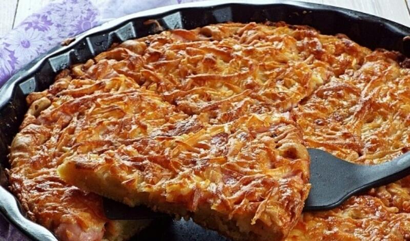 Быстрая и вкусная пицца на кефире с колбасой