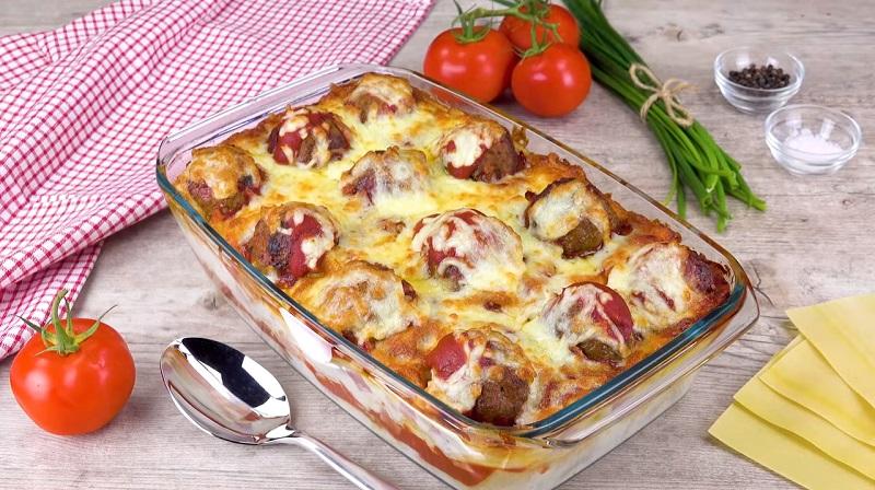 Оригинальный вкусный рецепт: лазанья с фрикадельками