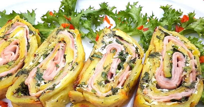 Картофельный рулет с ветчиной и сыром: очень вкусное горячее блюдо
