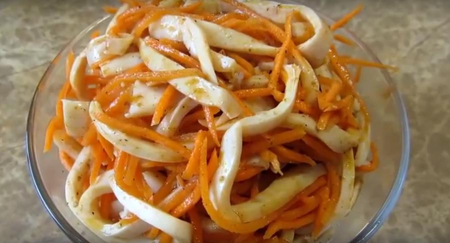Очень вкусные кальмары по-корейски