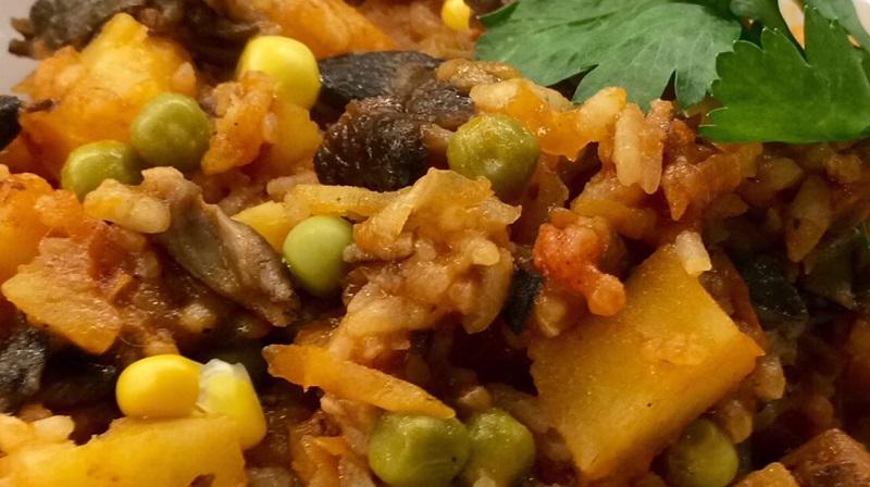 Очень вкусное и сытное грибное рагу с рисом