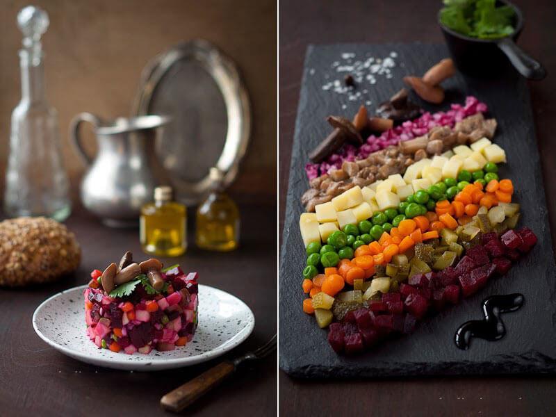 """Самый известный постный салат """"Винегрет"""" с маринованными грибами"""