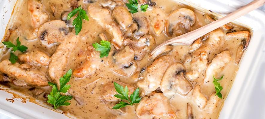 куриная грудка в сметанном соусе с грибами в духовке