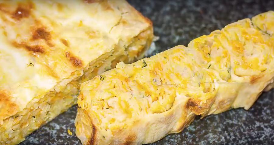 Бесподобный слоеный пирог с картошкой и тыквой