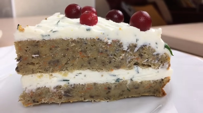 Грибной закусочный торт на пасхальный стол: рецепт вас удивит