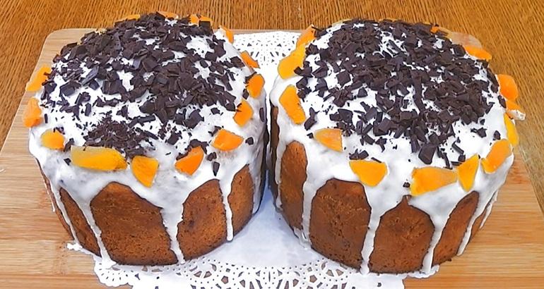 Праздничный апельсиновый кулич с шоколадом