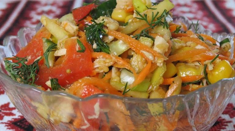 Очень вкусный овощной салат с мясом без майонеза