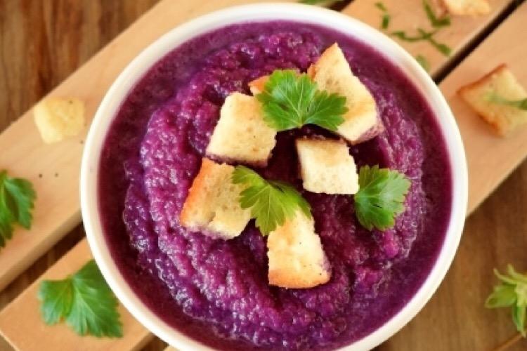 Вкусный постный суп-пюре из красной капусты