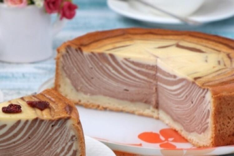 """Очень вкусный творожный пирог """"Зебра"""""""