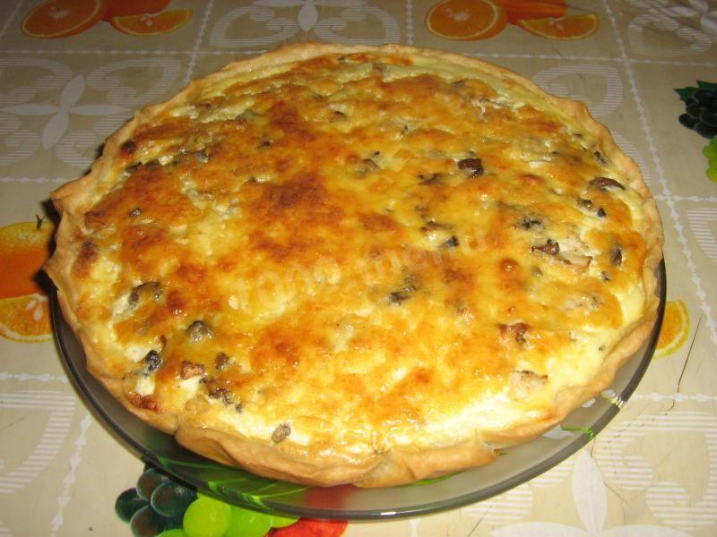 Лоранский пирог с курицей и грибами - очень вкусный