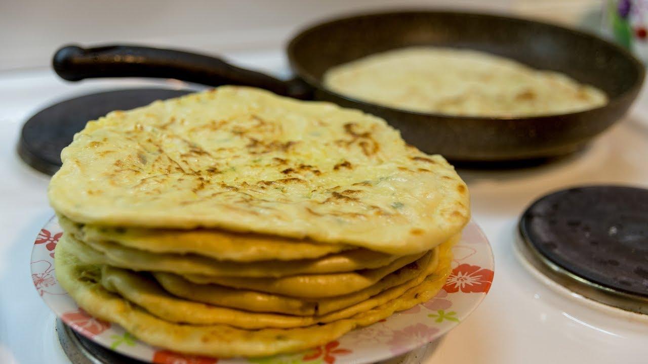 Хычины с картофелем и сыром или лепешка с начинкой на сковороде