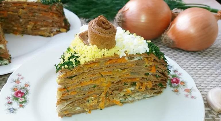 Закусочный торт «Праздничное настроение»: невероятно вкусный рецепт