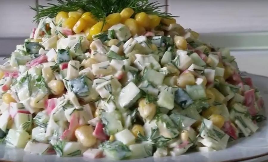 Превосходный крабовый салат без риса